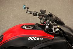 Kiev, Ukraine - May 3, 2019: Part of a Ducati motorcycle in the city royalty free stock images