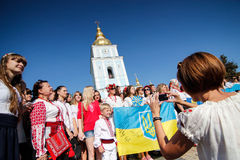 Kiev, Ukraine - May.21, 2015: People wearing the traditional Ukrainian garment known as the vyshyvanka. People wearing the traditional Ukrainian garment known as Stock Photography