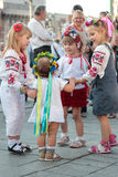 Kiev, Ukraine - May.21, 2015: People wearing the traditional Ukrainian garment known as the vyshyvanka. People wearing the traditional Ukrainian garment known as Stock Image