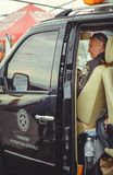 Police sit in car safety control and first aid during the security day in Kiev. Kiev, Ukraine - MAY, 2017 : police sit in car safety control and first aid during Royalty Free Stock Photo