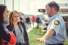 Police train people to safety and first aid in the framework of the security day in Kiev. Kiev, Ukraine - MAY, 2017 : police train people to safety and first aid Royalty Free Stock Photos