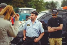Police train people to safety and first aid in the framework of the security day in Kiev. Kiev, Ukraine - MAY, 2017 : police train people to safety and first aid Royalty Free Stock Images