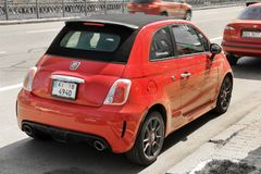 Kiev, Ukraine - May 3, 2019: Red Fiat 500 Abarth car in the city royalty free stock photo