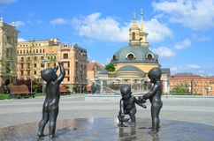 Sculptures of children to the founders of the city of Kiev Stock Images
