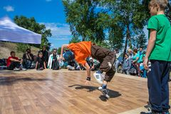 KIEV, UKRAINE - MAY 28, 2017: Street artist breakdancing outdoors Stock Image