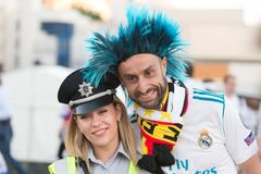 KIEV, UKRAINE - MAY 26, 2018: UEFA fan of FC Real Madrid and Liverpool football team before final UEFA champion ligue game at NSC royalty free stock photos