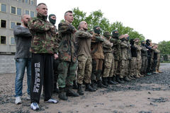 KIEV, UKRAINE - May 7, 2015: Ukrainian recruits volunteer battalion Azov Royalty Free Stock Images