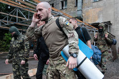 KIEV, UKRAINE - May 7, 2015: Ukrainian recruits volunteer battalion Azov Royalty Free Stock Photo