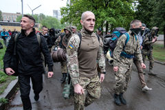 KIEV, UKRAINE - May 7, 2015: Ukrainian recruits volunteer battalion Azov Stock Photo