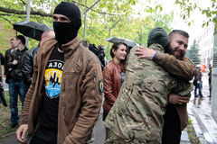 KIEV, UKRAINE - May 7, 2015: Ukrainian recruits volunteer battalion Azov Stock Image