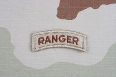 KIEV, UKRAINE - May 18, 2015.  US ARMY ranger tab on camouflage uniform Royalty Free Stock Photo