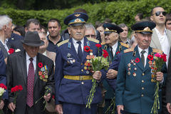 Kiev, Ukraine - May 09, 2016: World War II veterans laid flowers Royalty Free Stock Photos