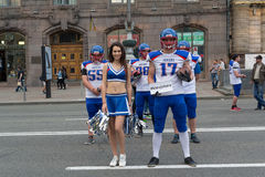 Kiev, Ukraine - May 22, 2016: Young players on the American football team conducted a campaign to popularize the sport in the stre Royalty Free Stock Image