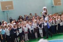 kiev ukraine 26 mei, 2017- De laatste klok in middelbare school E stock foto