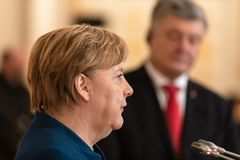 Federal Chancellor of the Federal Republic of Germany Angela Mer stock photography