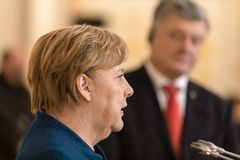 Federal Chancellor of the Federal Republic of Germany Angela Mer stock image