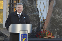 KIEV, UKRAINE - Nov 28, 2015: President of Ukraine Petro Poroshenko and his wife commemorated the victims of the famine-genocide. The president and his wife Stock Image