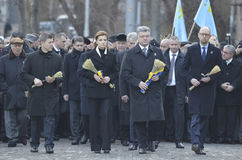 KIEV, UKRAINE - Nov 28, 2015: President of Ukraine Petro Poroshenko and his wife commemorated the victims of the famine-genocide Royalty Free Stock Photo