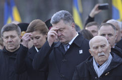 KIEV, UKRAINE - Nov 28, 2015: President of Ukraine Petro Poroshenko and his wife commemorated the victims of the famine-genocide Stock Images