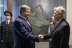 Petro Poroshenko and David Lynch Royalty Free Stock Photography