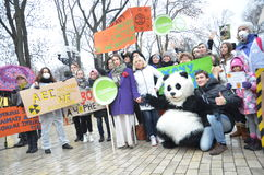 KIEV, UKRAINE - Nov 29, 2015: Ukrainians take a part in the Ukrainian Global Climate March. Ukrainians take a part in the Ukrainian Global Climate March,on the Stock Photography