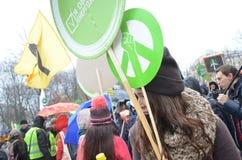 KIEV, UKRAINE - Nov 29, 2015: Ukrainians take a part in the Ukrainian Global Climate March. Ukrainians take a part in the Ukrainian Global Climate March,on the Stock Photo