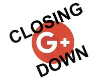 Google plus circle icon with closing down words royalty free illustration
