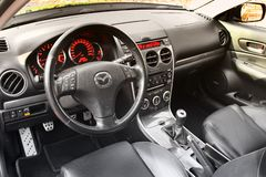 Kiev, Ukraine - November 5, 2018: Mazda car interior. View of the interior of a modern automobile showing the dashboard stock images