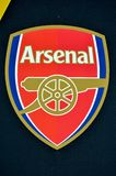 KIEV, UKRAINE - November 29, 2018: Official logo and emblem FC Arsenal close-up during the UEFA Europa League match between royalty free stock photography