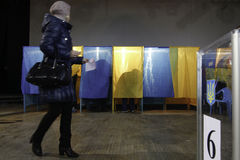 KIEV,UKRAINE - November 15, 2015: 1,088 of 1,089 polling stations opened in Kyiv at 08.00 a.m. Stock Images