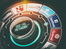 KIEV, UKRAINE - NOVEMBER 16, 2016: Social network concept. Switch knob with Facebook Twitter Google PlusInstagram LinkedIn YouTube Tumblr and Pinterest. 3d Royalty Free Stock Image