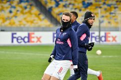 KIEV, UKRAINE - 29 novembre 2018 : Aaron Ramsey pendant la correspondance d'UEFA Europa League entre Vorskla Poltava contre l'ars image stock