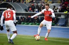 KIEV, UKRAINE - 29 novembre 2018 : Aaron Ramsey pendant la correspondance d'UEFA Europa League entre Vorskla Poltava contre l'ars images libres de droits