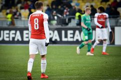 KIEV, UKRAINE - 29 novembre 2018 : Aaron Ramsey pendant la correspondance d'UEFA Europa League entre Vorskla Poltava contre l'ars photos libres de droits