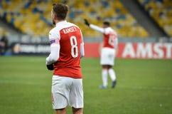 KIEV, UKRAINE - 29 novembre 2018 : Aaron Ramsey pendant la correspondance d'UEFA Europa League entre Vorskla Poltava contre l'ars photo stock
