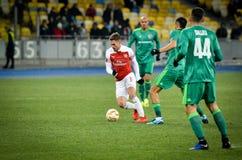 KIEV, UKRAINE - 29 novembre 2018 : Aaron Ramsey pendant la correspondance d'UEFA Europa League entre Vorskla Poltava contre l'ars photo libre de droits