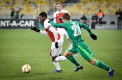 KIEV, UKRAINE - 29 novembre 2018 : Ainsley Maitland-Niles pendant la correspondance d'UEFA Europa League entre Vorskla Poltava co images libres de droits