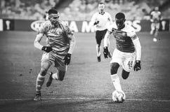 KIEV, UKRAINE - 29 novembre 2018 : Eddie Nketiah pendant la correspondance d'UEFA Europa League entre Vorskla Poltava contre l'ar photographie stock libre de droits