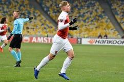 KIEV, UKRAINE - 29 novembre 2018 : Emile Smith Rowe célèbrent le but marqué pendant la correspondance d'UEFA Europa League entre  images libres de droits