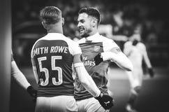 KIEV, UKRAINE - 29 novembre 2018 : Emile Smith Rowe c?l?brent le but marqu? pendant la correspondance d'UEFA Europa League entre  photos stock