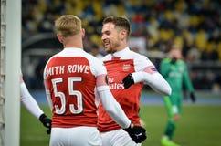 KIEV, UKRAINE - 29 novembre 2018 : Emile Smith Rowe c?l?brent le but marqu? pendant la correspondance d'UEFA Europa League entre  photo libre de droits
