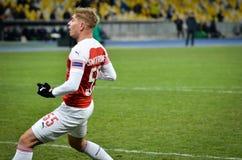 KIEV, UKRAINE - 29 novembre 2018 : Emile Smith Rowe pendant la correspondance d'UEFA Europa League entre Vorskla Poltava contre l photographie stock libre de droits