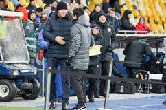 KIEV, UKRAINE - 29 novembre 2018 : Entra?neur Unai Emery pendant la correspondance d'UEFA Europa League entre Vorskla Poltava con image libre de droits