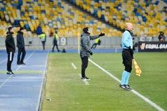 KIEV, UKRAINE - 29 novembre 2018 : Entra?neur Unai Emery pendant la correspondance d'UEFA Europa League entre Vorskla Poltava con photo stock