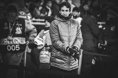 KIEV, UKRAINE - 29 novembre 2018 : Entra?neur Unai Emery pendant la correspondance d'UEFA Europa League entre Vorskla Poltava con photographie stock