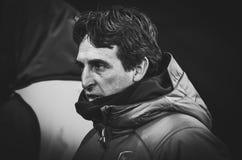 KIEV, UKRAINE - 29 novembre 2018 : Entra?neur Unai Emery pendant la correspondance d'UEFA Europa League entre Vorskla Poltava con photo libre de droits