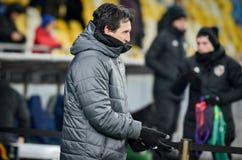 KIEV, UKRAINE - 29 novembre 2018 : Entra?neur Unai Emery pendant la correspondance d'UEFA Europa League entre Vorskla Poltava con image stock