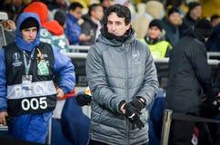 KIEV, UKRAINE - 29 novembre 2018 : Entra?neur Unai Emery pendant la correspondance d'UEFA Europa League entre Vorskla Poltava con photographie stock libre de droits