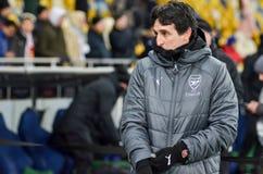 KIEV, UKRAINE - 29 novembre 2018 : Entra?neur Unai Emery pendant la correspondance d'UEFA Europa League entre Vorskla Poltava con images libres de droits