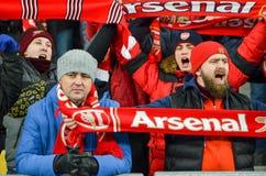 KIEV, UKRAINE - 29 novembre 2018 : Fans et ultras d'arsenal de FC pendant la correspondance d'UEFA Europa League entre Vorskla Po image libre de droits